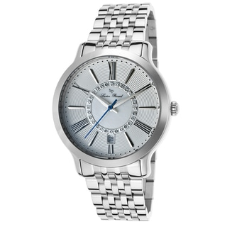Lucien Piccard Women's Sofia Silvertone Watch with Rippled Dial and Mother-of-Pearl Inlay with Crystal Accents