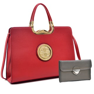 Dasein Rolled Handle Faux Buffalo Briefcase with Removable Shoulder Strap & Buckle Wallet