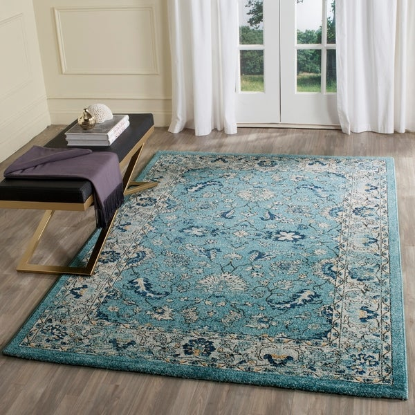 shop safavieh carmel vintage turquoise beige distressed rug 9 39 x 12 39 on sale free. Black Bedroom Furniture Sets. Home Design Ideas