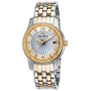 Lucien Piccard Merrel Gold-Tone Stainless Steel White Mother of Pearl Dial Watch