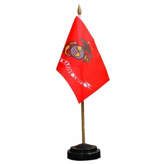 US Marine Corps Desk Flag With Stand