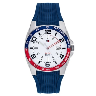 Tommy Hilfiger Men's Blue Rubber and Stainless Steel Japanese Quartz Watch