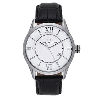 Tommy Hilfiger Men's Black Leather and Stainless Steel Japanese Quartz Watch|https://ak1.ostkcdn.com/images/products/11742673/P18659837.jpg?impolicy=medium