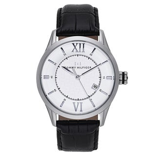 Tommy Hilfiger Men's Black Leather and Stainless Steel Japanese Quartz Watch