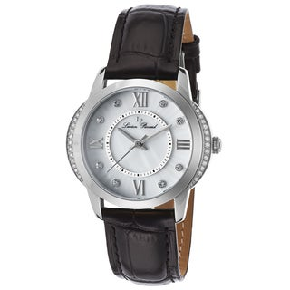 Lucien Piccard Women's Mother-of-Pearl Dial Crystal Accented Watch with Black Leather Strap