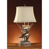 Upstream Bronze Patina and Wood 32-inch Table Lamp