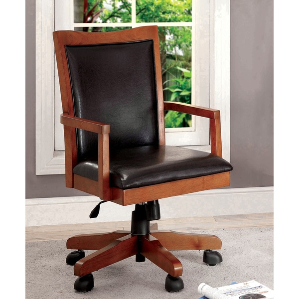 Furniture of America Mamb Traditional Leatherette Swivel Office Chair