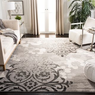 Safavieh Adirondack Vintage Damask Silver  Ivory Large Area Rug  10  x. 7x9   10x14 Rugs For Less   Overstock com