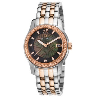 Lucien Piccard Merrel Stainless Steel and Rose-Tone Stainless Steel Black Watch