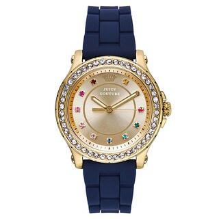Juicy Couture Women's Blue Rubber and Goldtone Japanese Quartz Watch