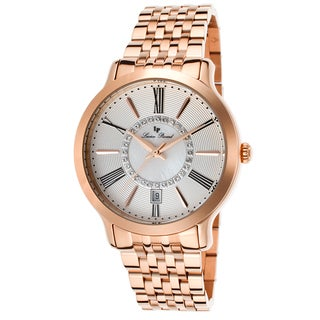 Lucien Piccard Sofia Rose-Tone Stainless Steel Silver-Tone and Mother of Pearl Watch\