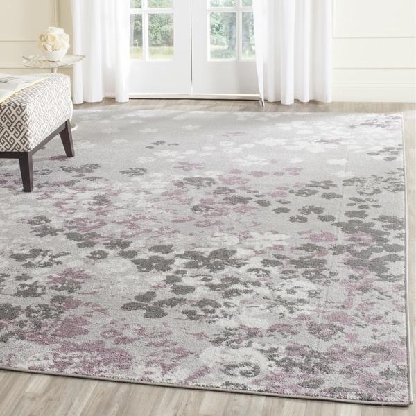 Safavieh Adirondack Vintage Floral Light Grey / Purple Rug (9' x 12')
