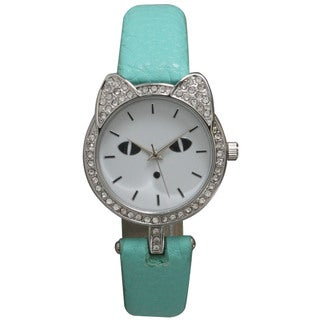 Olivia Pratt Women's Cat Silhouette Rhinestone Bezel Petite Leather Watch
