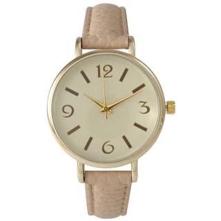 Olivia Pratt Women's Goldtone Minimalist Petite Leather Watch
