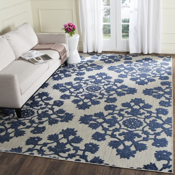 Safavieh Cottage Light Grey Royal Blue Rug 9 X 12