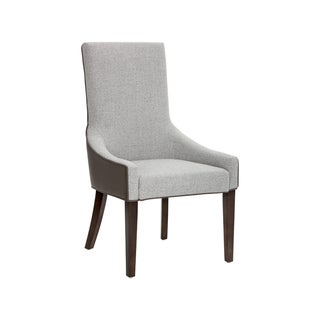 Sunpan VINCENT DINING CHAIR - DOVE GREY LEATHER / MARBLE FABRIC