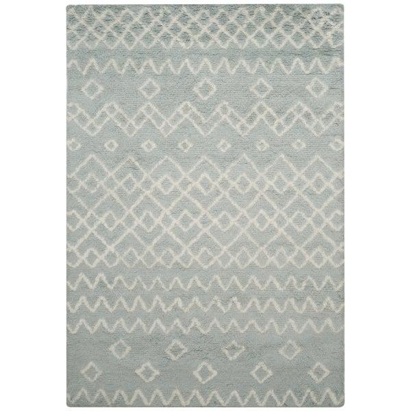 Safavieh Handmade Casablanca Blue/ Ivory Wool Rug - 8' x 10'