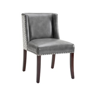 Sunpan MARLIN DINING CHAIR - GREY LEATHER / DIAMOND FABRIC (Set of 2)