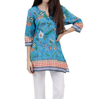 La Cera Women's Turquoise Cotton 3/4 Sleeve Printed Voile Tunic Top