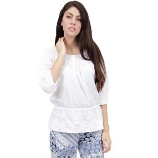 La Cera Women's White Cotton Hand-embroidered Smocked Top