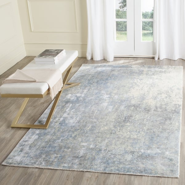 Safavieh Handmade Mirage Modern Watercolor Aqua Sky Viscose Rug 9 X27