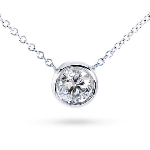 Annello by Kobelli 14k Gold Round Bezel Moissanite Solitaire Necklace (GH/VS)