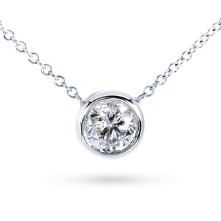 Annello by Kobelli 14k Gold Forever Classic Round Bezel Moissanite Solitaire Necklace