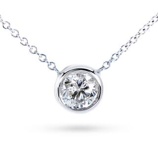 Annello by Kobelli 14k Gold Round Bezel Moissanite Solitaire Necklace|https://ak1.ostkcdn.com/images/products/11743103/P18660145.jpg?impolicy=medium