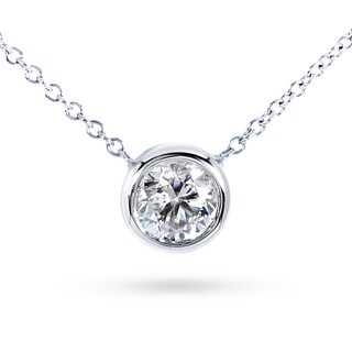 Annello by Kobelli 14k Gold Round Bezel Moissanite (HI) Solitaire Necklace