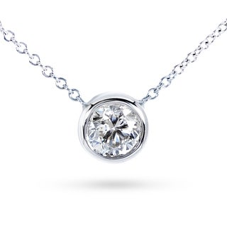 Annello by Kobelli 14k Gold Round Bezel Moissanite Solitaire Necklace