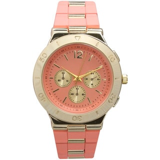Olivia Pratt Women's Decorative Two-Tone Bracelet Boyfriend Watch with Three Sub Dials and Raised Bezel
