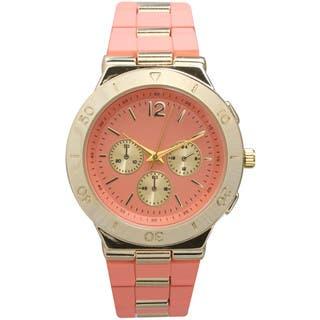 Olivia Pratt Women's Decorative Two-Tone Bracelet Boyfriend Watch with Three Sub Dials and Raised Bezel|https://ak1.ostkcdn.com/images/products/11743125/P18660174.jpg?impolicy=medium
