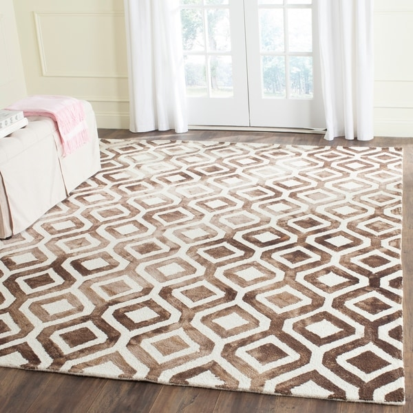 Safavieh Handmade Dip Dye Watercolor Vintage Ivory/ Chocolate Wool Rug - 9' x 12'