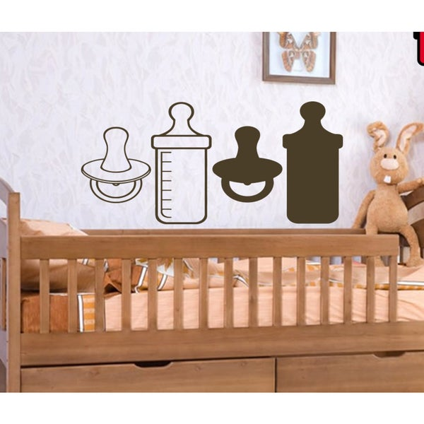 Kids toys baby bottle cot nipple comforter Wall Art Sticker Decal ...