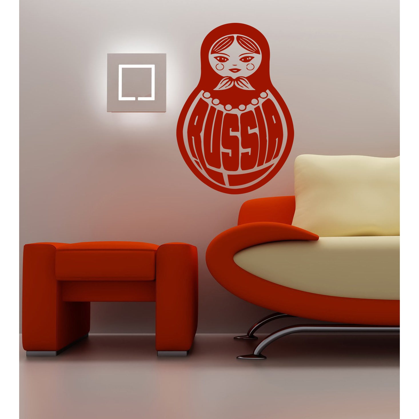 Russian nesting doll Wall Art Sticker Decal Red (22 inche...