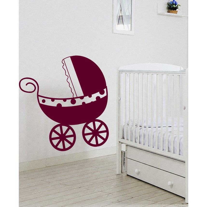 Pram baby carriage baby buggy Wall Art Sticker Decal Red ...