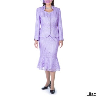 Ella Belle Women's 2-piece White/Blue/Purple/Black Polyester Lace Skirt Suit