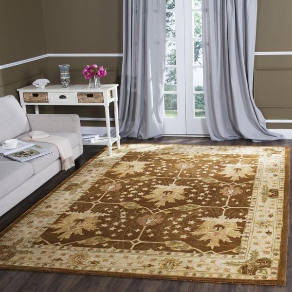 Safavieh Handmade Antiquity Brown/ Beige Wool Rug - 7'6 x 9'6