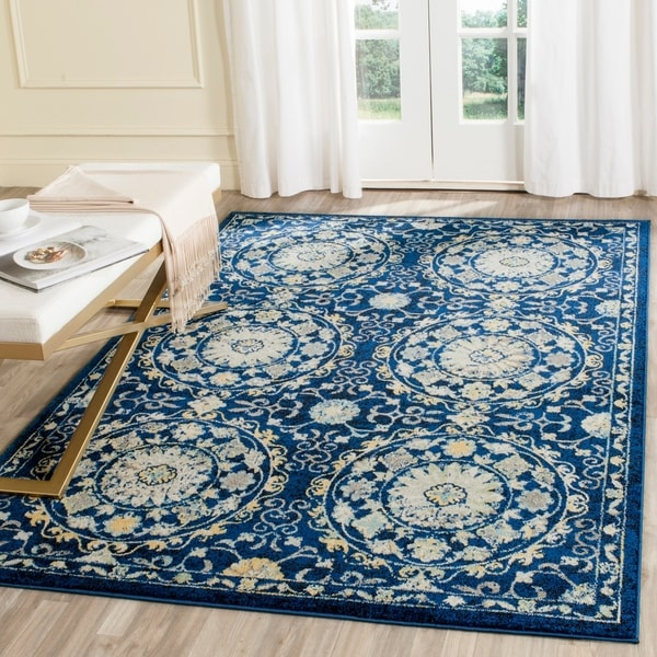 Safavieh Evoke Vintage Navy Blue/ Ivory Distressed Rug - 10' x 14'