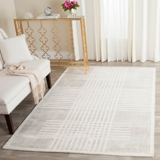 Safavieh Handmade Mirage Modern Light Grey Banana Art Silk Rug (9' x 12')
