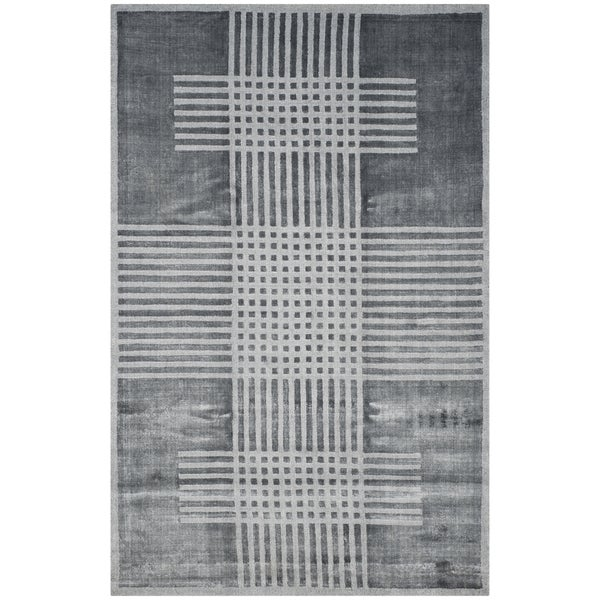 Safavieh Handmade Mirage Modern Dark Grey Banana Art Silk Rug - 8' x 10'