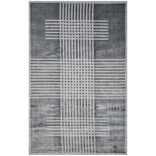 Safavieh Handmade Mirage Modern Dark Grey Banana Art Silk Rug (9' x 12')