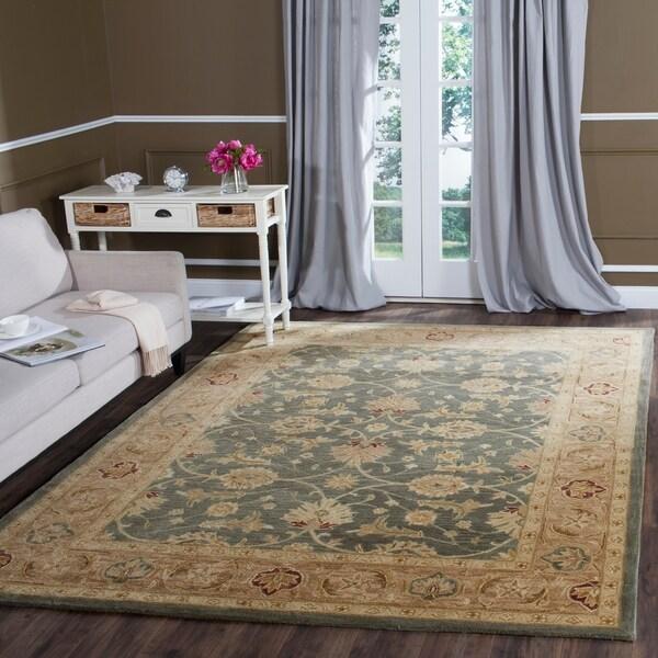 Safavieh Handmade Antiquity Teal Blue/ Taupe Wool Rug - 9'6 x 13'6
