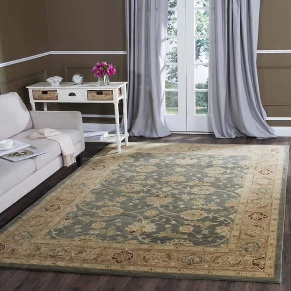 Safavieh Handmade Antiquity Teal Blue Taupe Wool Rug 7