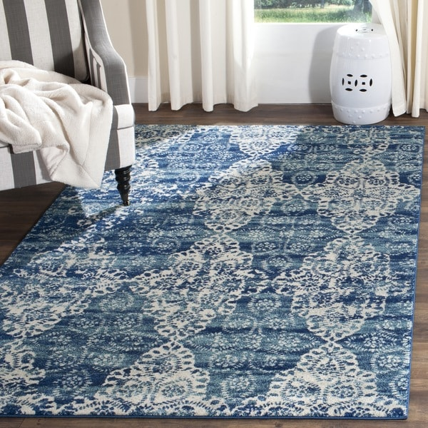 Safavieh Evoke Vintage Royal Blue/ Ivory Distressed Rug (8' x 10') - 8' x 10'