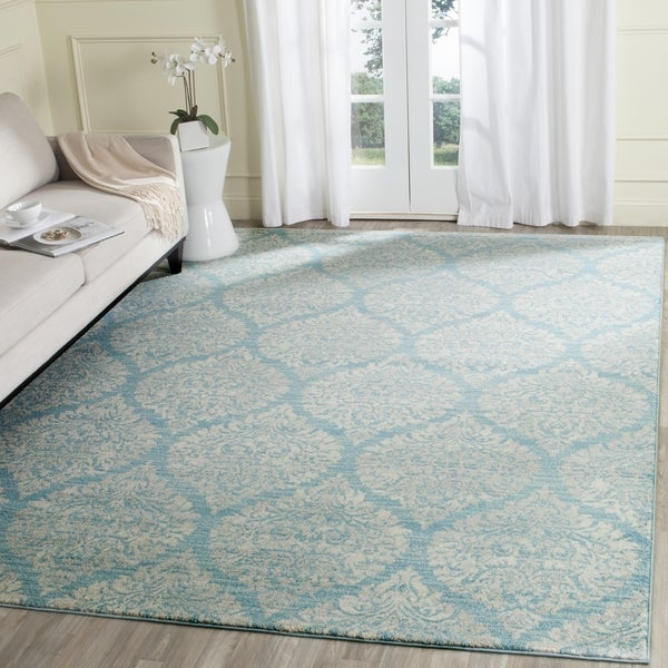 Safavieh Evoke Vintage Damask Light Blue/ Ivory Distressed Rug - 8' x 10'
