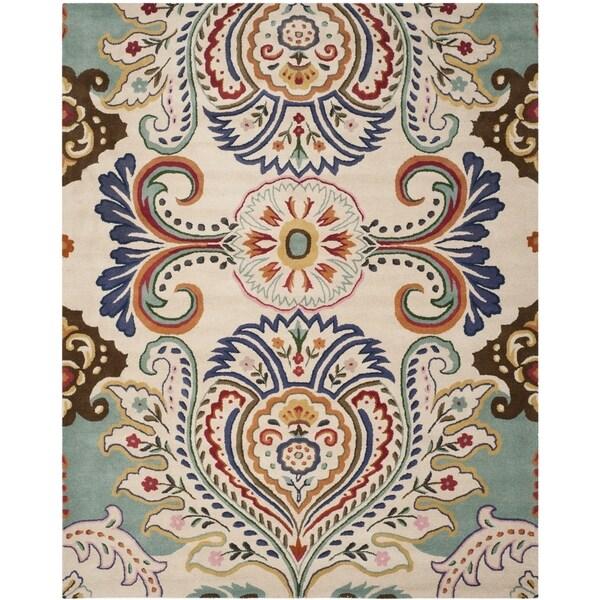 Safavieh Handmade Bella Ivory/ Blue Wool Rug - 10' x 14'
