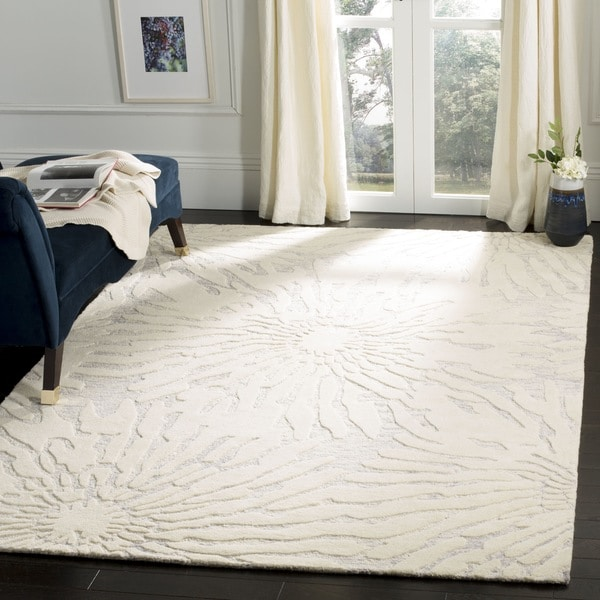 Safavieh Handmade Bella Silver/ Ivory Wool Rug - 8' x 10'