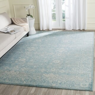 Maison Rouge Lavant Vintage Oriental Light Blue/ Ivory Distressed Rug (9' x 12')