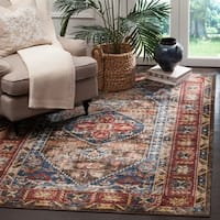 Safavieh Bijar Traditional Oriental Brown/ Royal Blue Distressed Rug - 9' x 12'